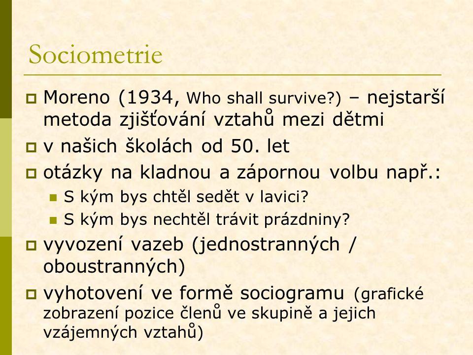 Sociometrie Moreno (1934, Who shall survive ) – nejstarší metoda zjišťování vztahů mezi dětmi. v našich školách od 50. let.