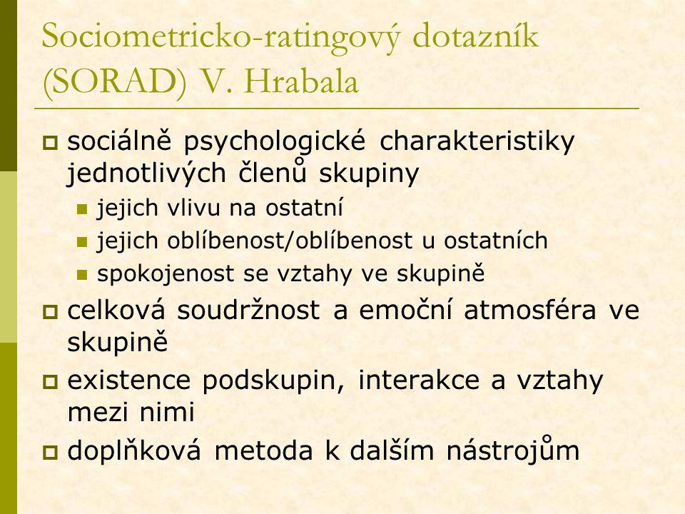 Sociometricko-ratingový dotazník (SORAD) V. Hrabala