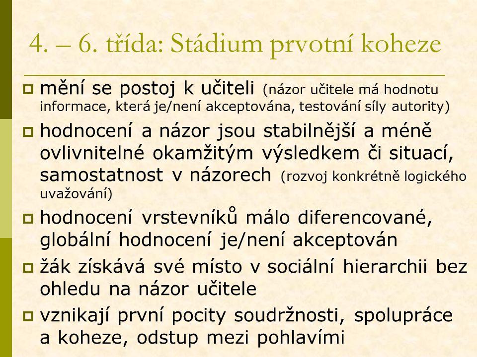 4. – 6. třída: Stádium prvotní koheze