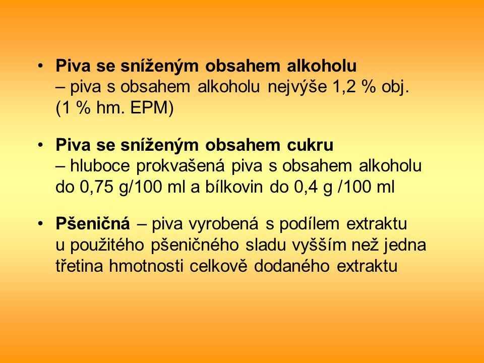 Piva se sníženým obsahem alkoholu – piva s obsahem alkoholu nejvýše 1,2 % obj. (1 % hm. EPM)