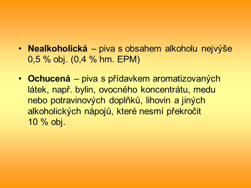 Nealkoholická – piva s obsahem alkoholu nejvýše 0,5 % obj. (0,4 % hm