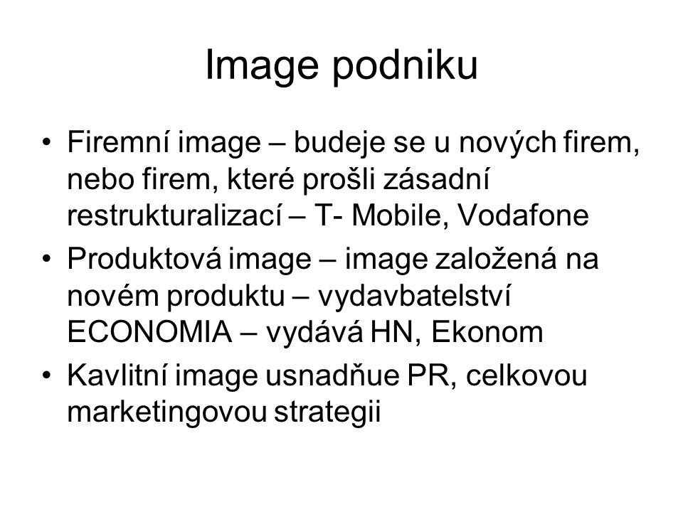Image podniku Firemní image – budeje se u nových firem, nebo firem, které prošli zásadní restrukturalizací – T- Mobile, Vodafone.