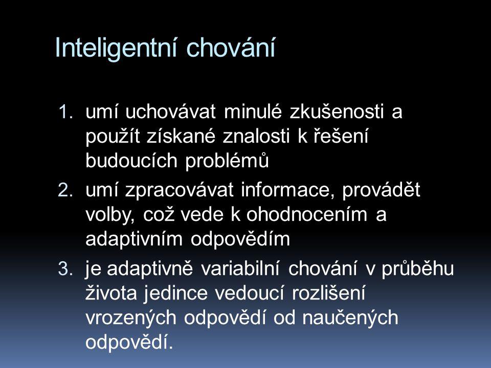 Inteligentní chování umí uchovávat minulé zkušenosti a použít získané znalosti k řešení budoucích problémů.