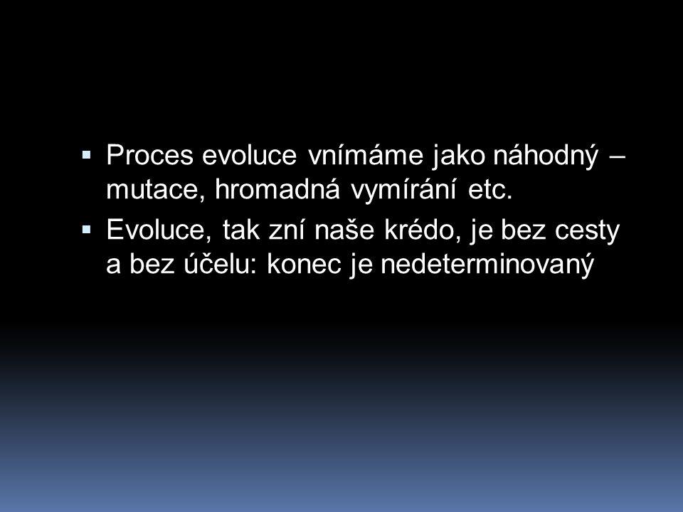 Proces evoluce vnímáme jako náhodný – mutace, hromadná vymírání etc.
