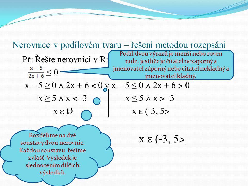 Nerovnice v podílovém tvaru – řešení metodou rozepsání