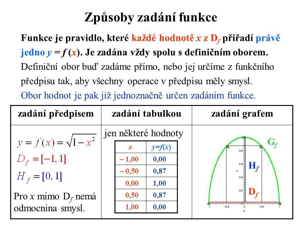 Způsoby zadání funkce Funkce je pravidlo, které každé hodnotě x z Df přiřadí právě. jedno y = f (x). Je zadána vždy spolu s definičním oborem.