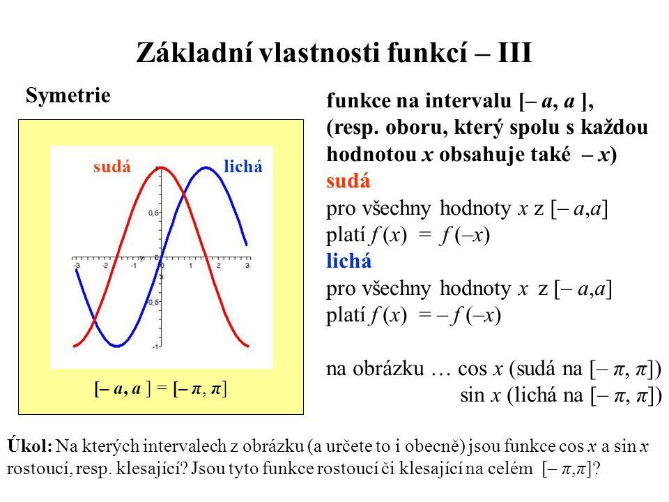 Základní vlastnosti funkcí – III
