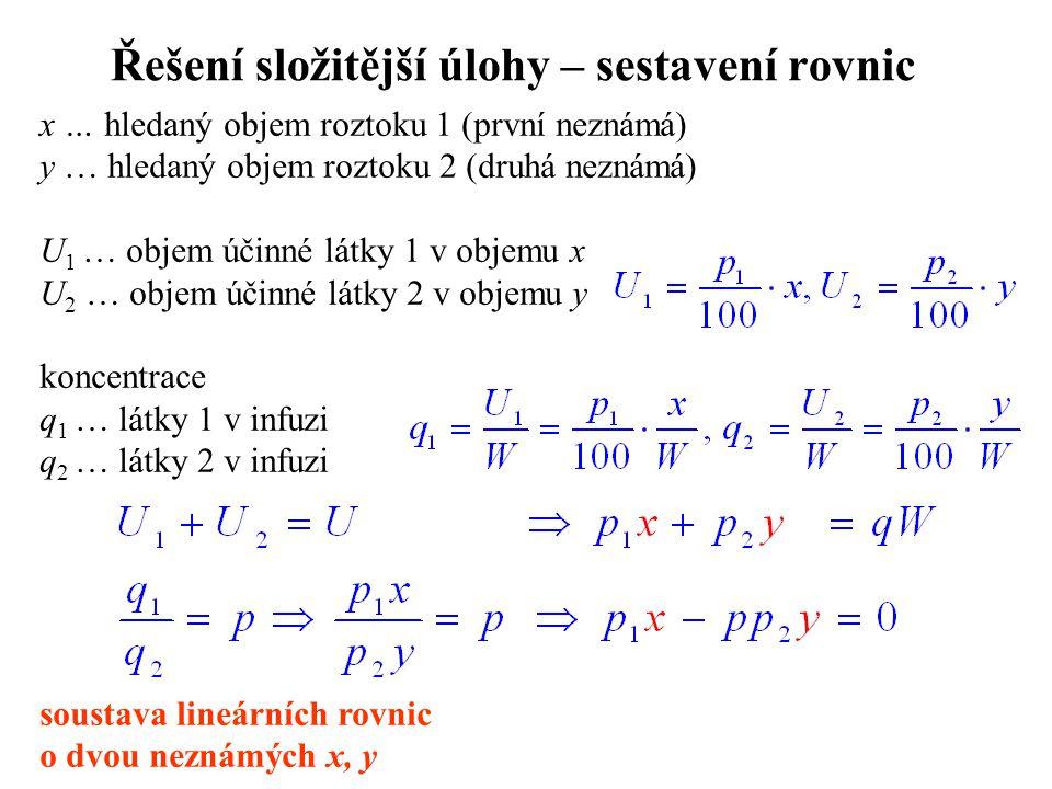 Řešení složitější úlohy – sestavení rovnic