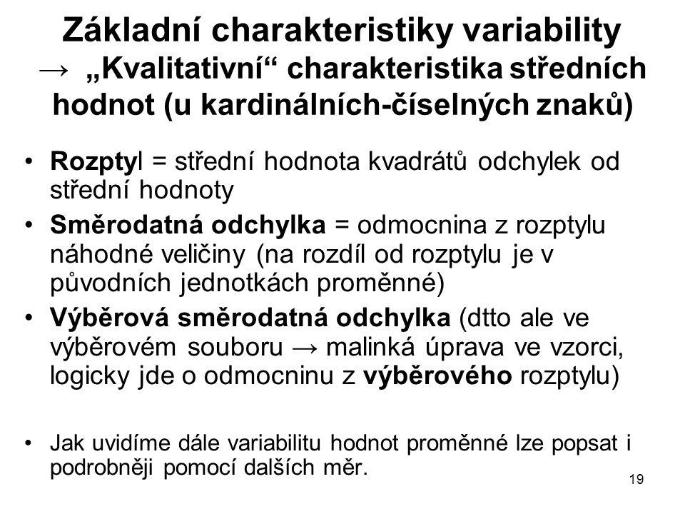 """Základní charakteristiky variability → """"Kvalitativní charakteristika středních hodnot (u kardinálních-číselných znaků)"""