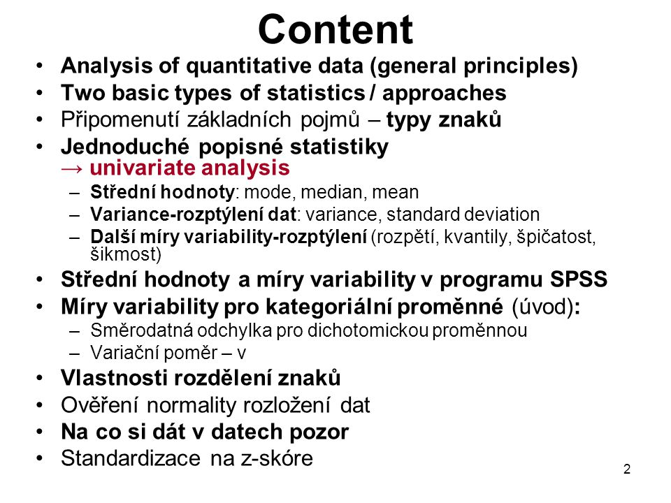 Content Analysis of quantitative data (general principles)