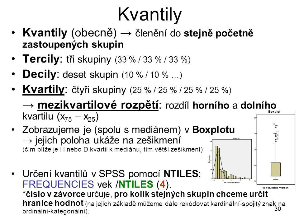 Kvantily Kvantily (obecně) → členění do stejně početně zastoupených skupin. Tercily: tři skupiny (33 % / 33 % / 33 %)