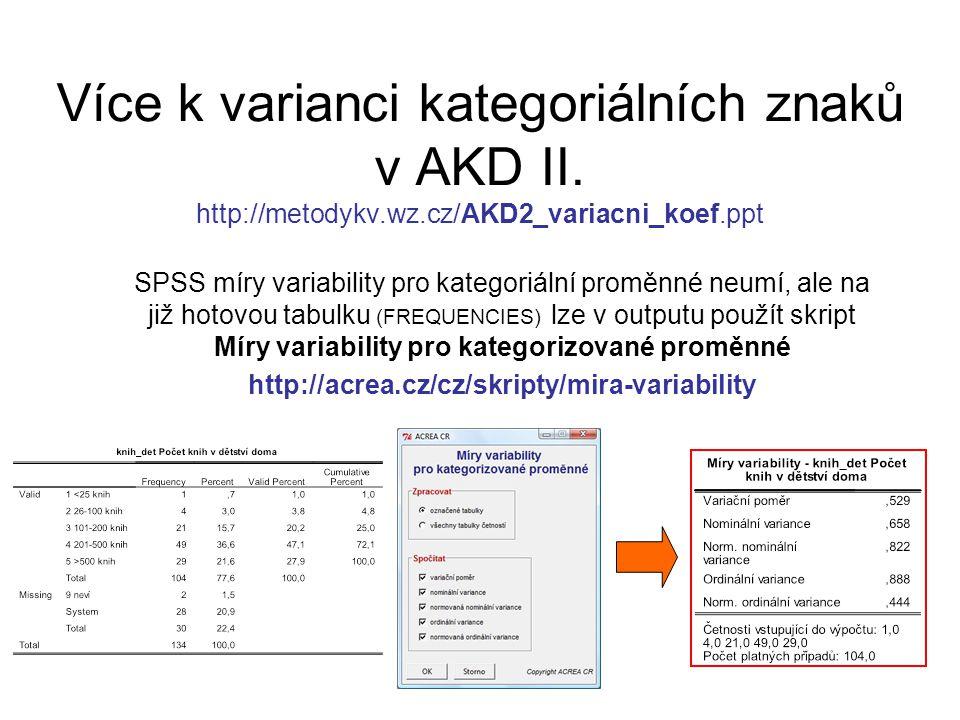 Více k varianci kategoriálních znaků v AKD II. http://metodykv. wz