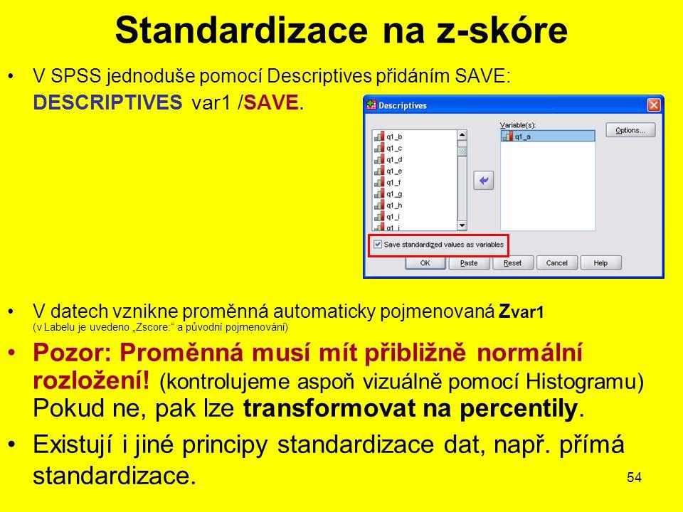 Standardizace na z-skóre