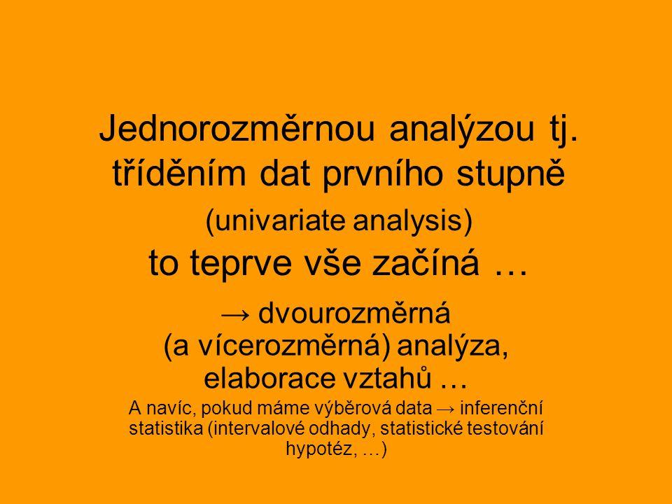 → dvourozměrná (a vícerozměrná) analýza, elaborace vztahů …