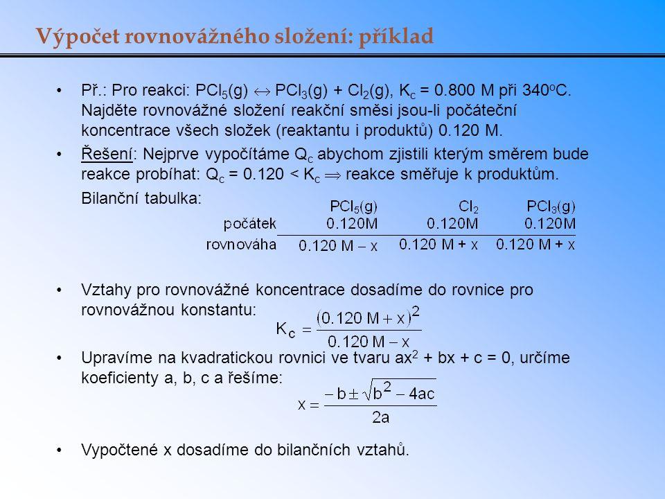 Výpočet rovnovážného složení: příklad