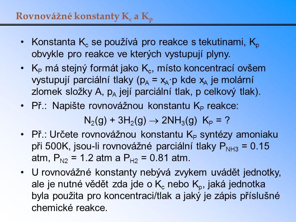 Rovnovážné konstanty Kc a Kp