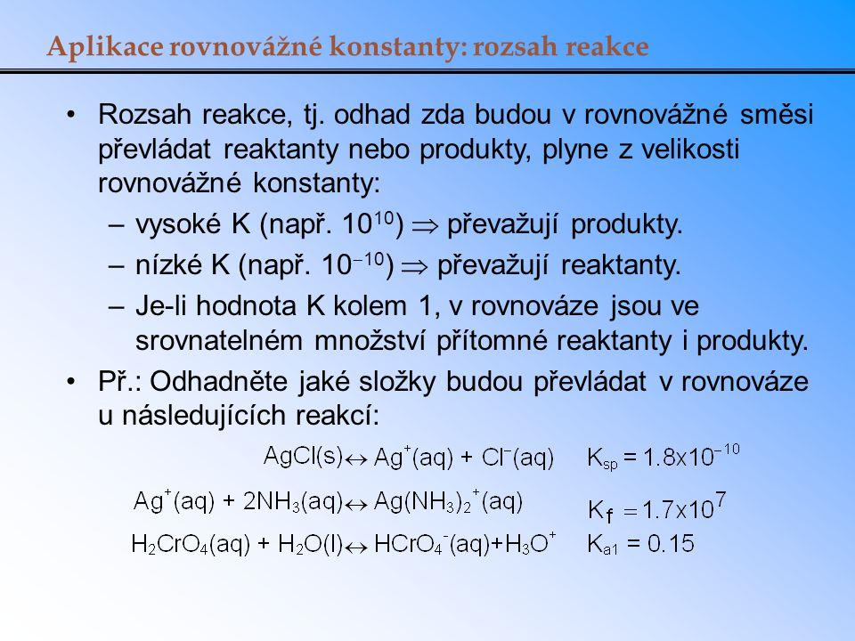 Aplikace rovnovážné konstanty: rozsah reakce
