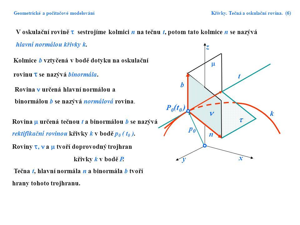 Geometrické a počítačové modelování. Křivky. Tečná a oskulační rovina