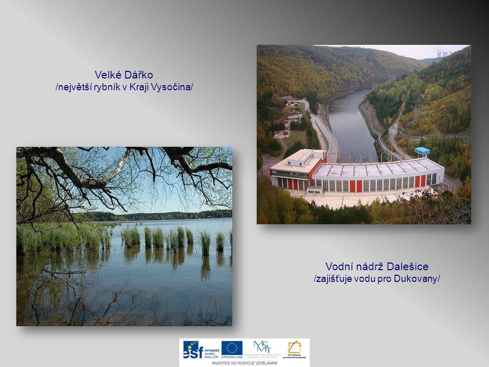 Vodní nádrž Dalešice /zajišťuje vodu pro Dukovany/