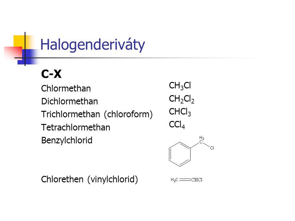 Halogenderiváty C-X CH3Cl Chlormethan CH2Cl2 Dichlormethan CHCl3