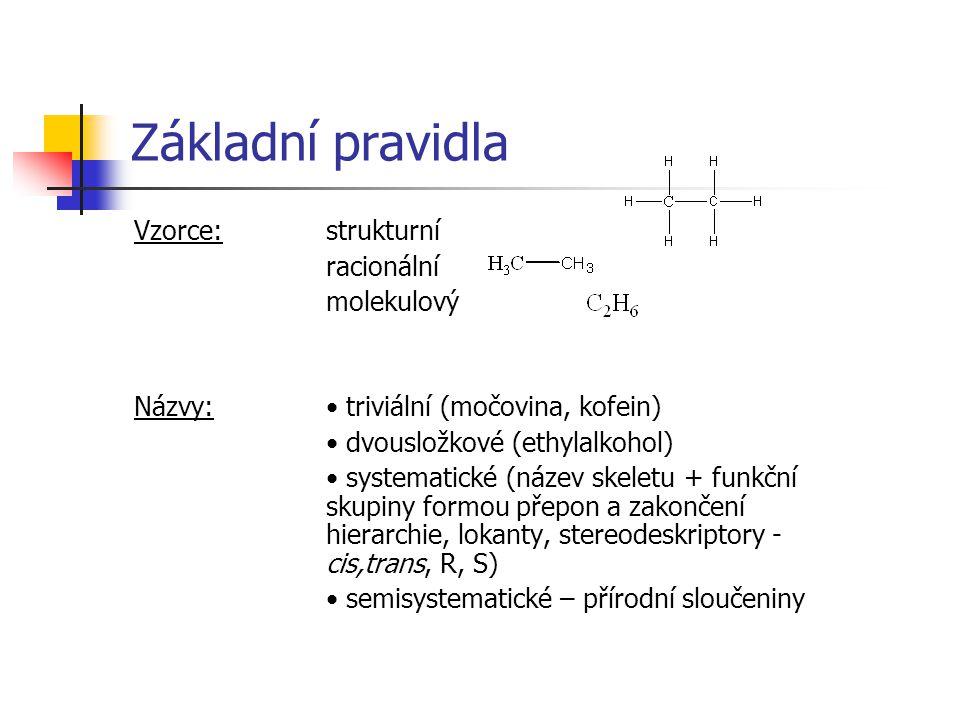 Základní pravidla Vzorce: strukturní racionální molekulový