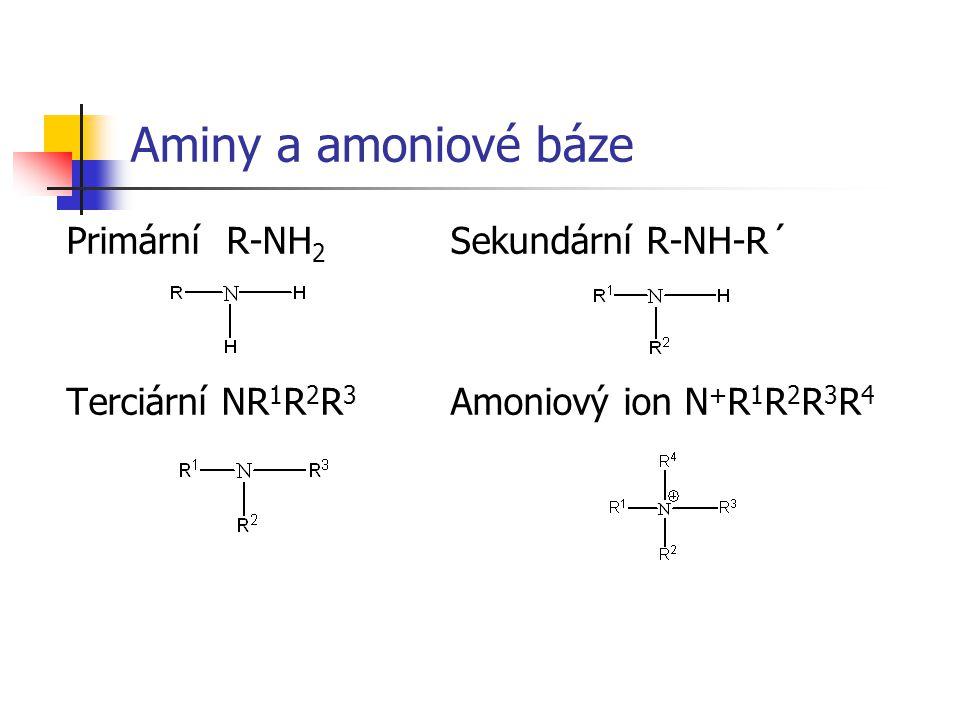 Aminy a amoniové báze Primární R-NH2 Sekundární R-NH-R´
