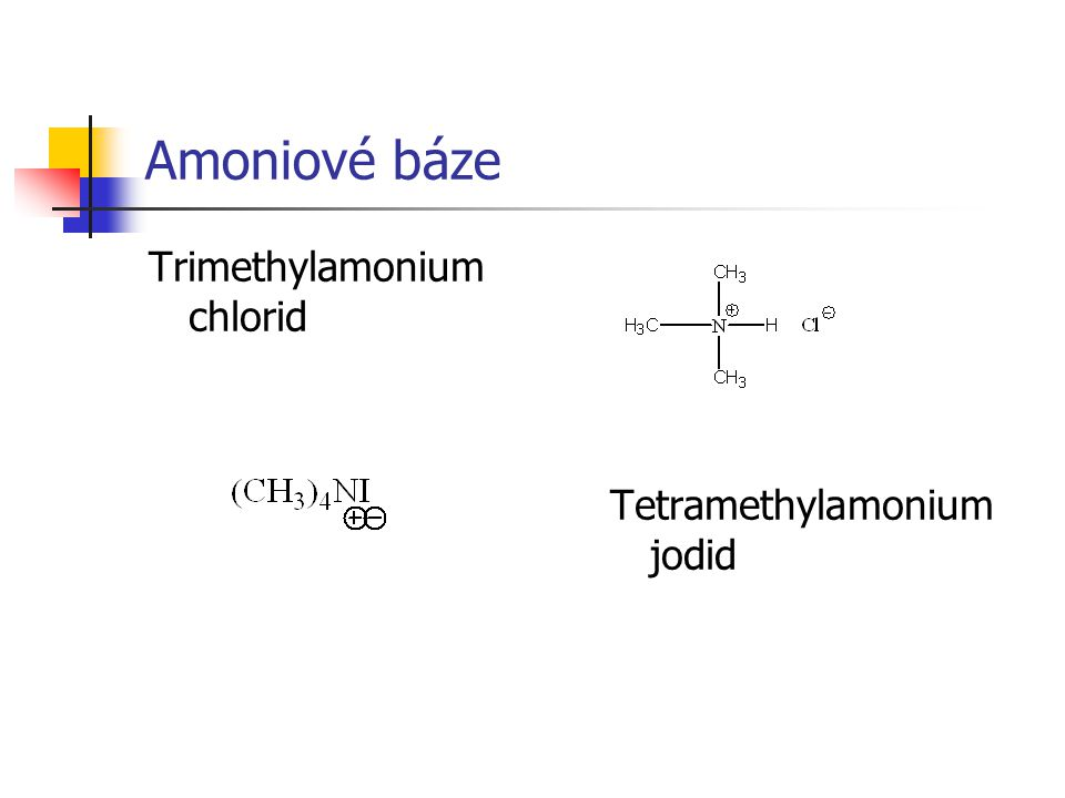 Amoniové báze Trimethylamonium chlorid Tetramethylamonium jodid