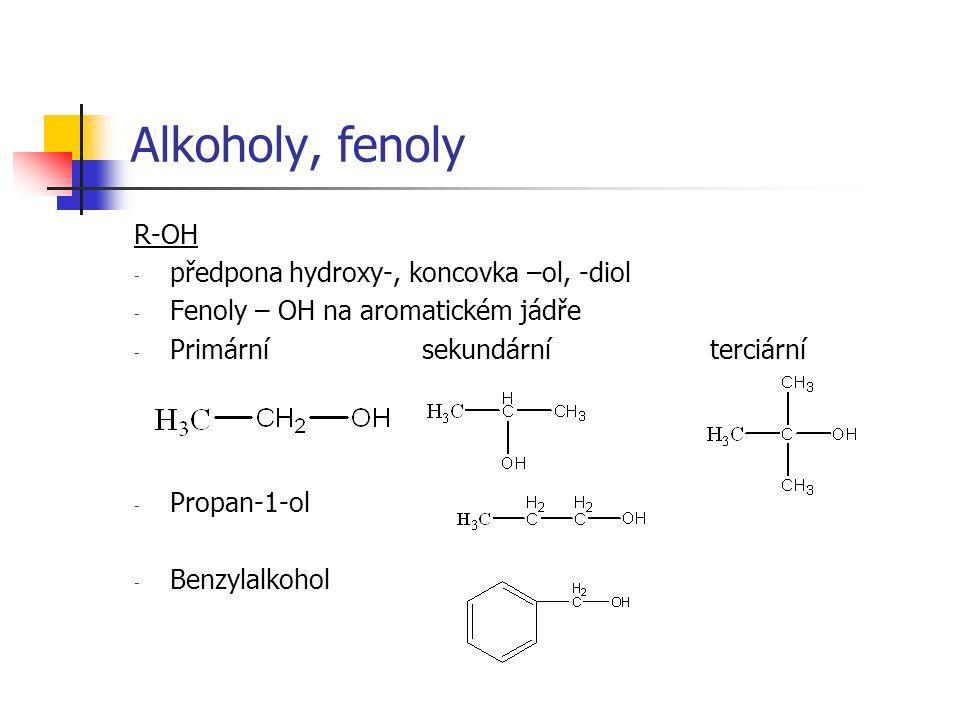 Alkoholy, fenoly R-OH předpona hydroxy-, koncovka –ol, -diol