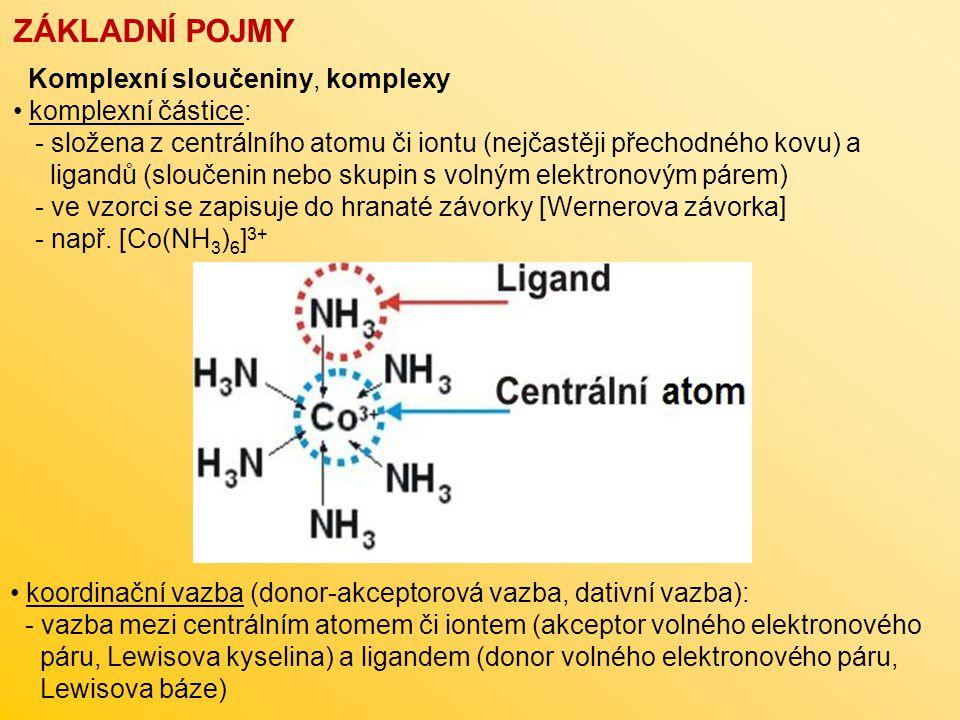 ZÁKLADNÍ POJMY Komplexní sloučeniny, komplexy komplexní částice: