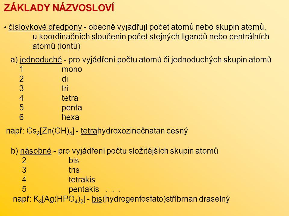 ZÁKLADY NÁZVOSLOVÍ číslovkové předpony - obecně vyjadřují počet atomů nebo skupin atomů,