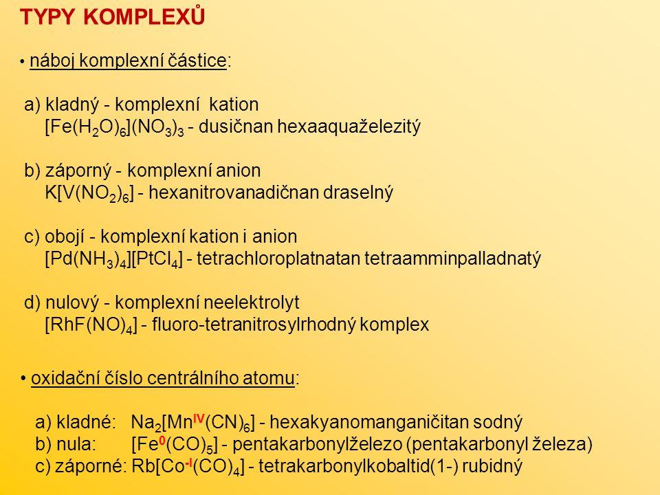 TYPY KOMPLEXŮ a) kladný - komplexní kation