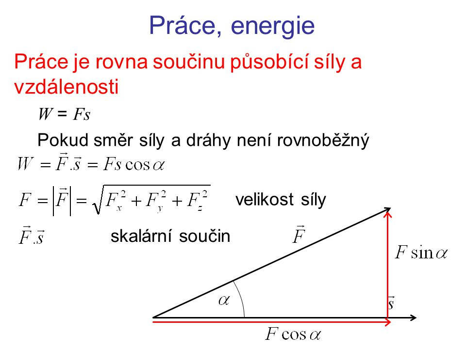 Práce, energie Práce je rovna součinu působící síly a vzdálenosti