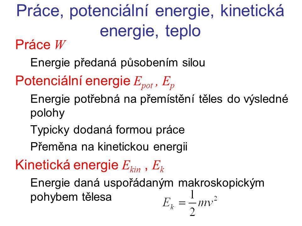 Práce, potenciální energie, kinetická energie, teplo