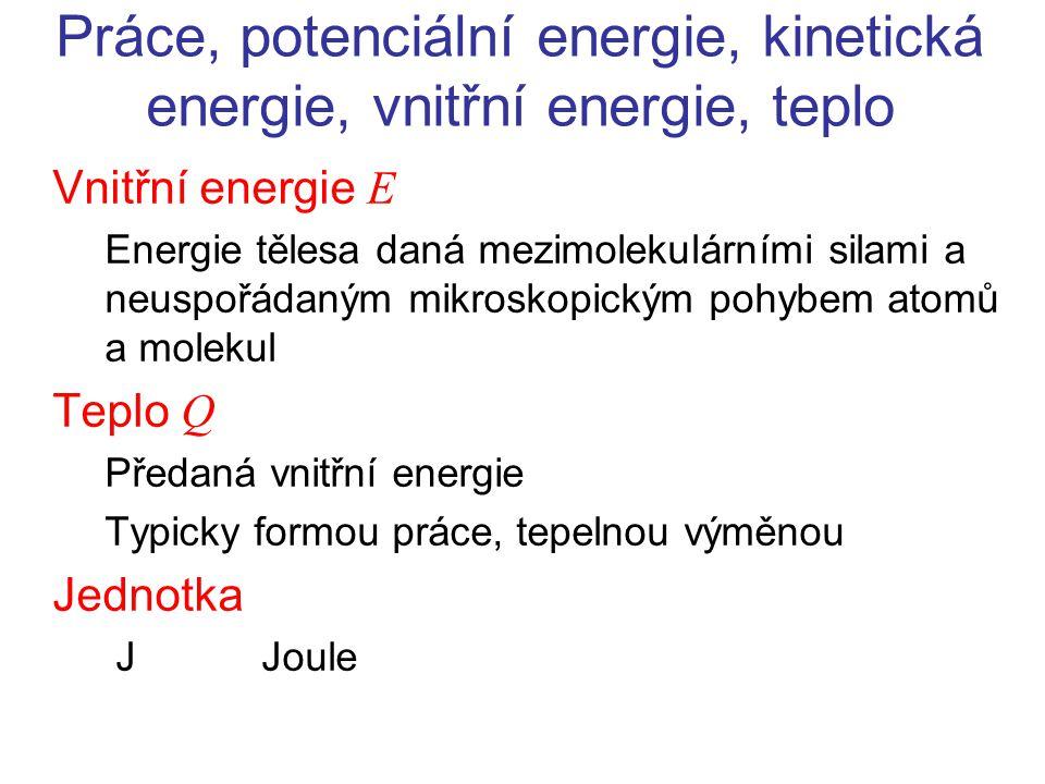 Práce, potenciální energie, kinetická energie, vnitřní energie, teplo