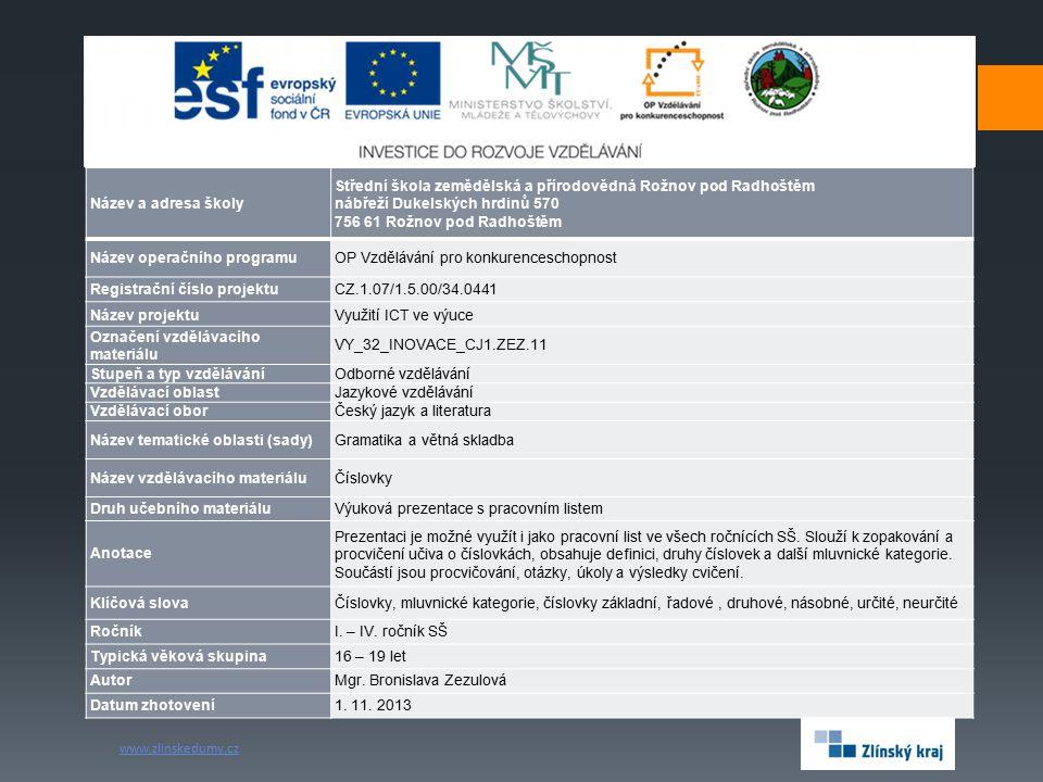 Název a adresa školy Střední škola zemědělská a přírodovědná Rožnov pod Radhoštěm. nábřeží Dukelských hrdinů 570.