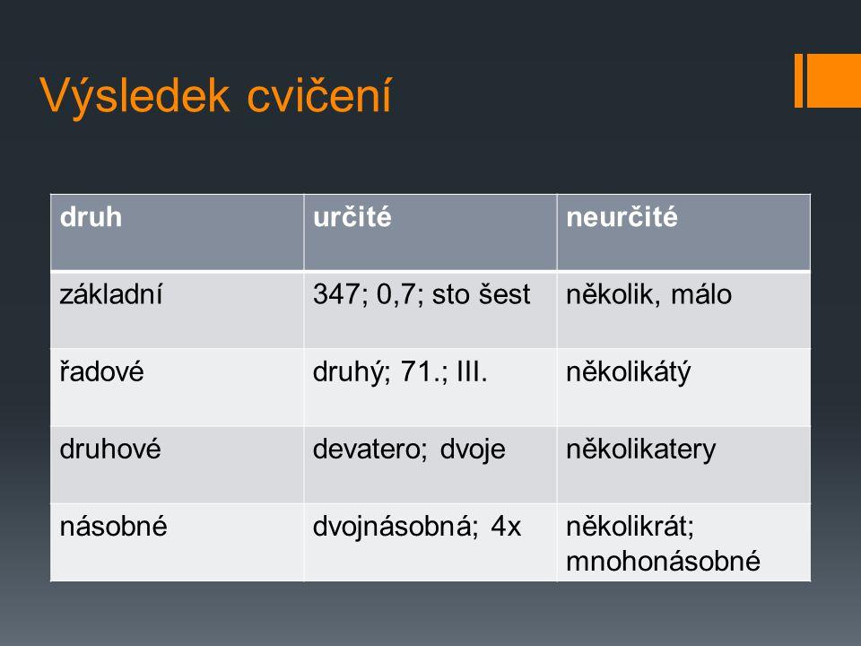 Výsledek cvičení druh určité neurčité základní 347; 0,7; sto šest