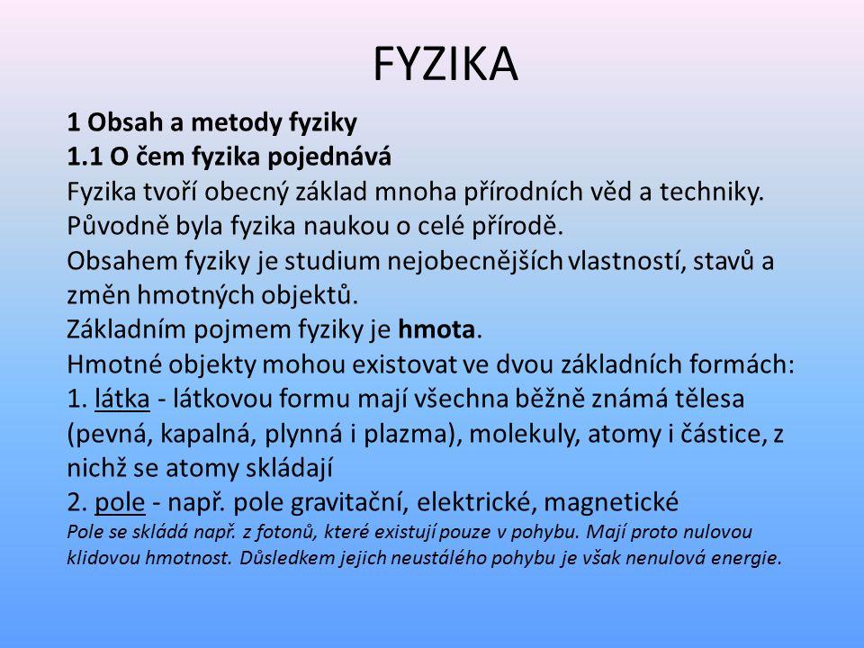 FYZIKA 1 Obsah a metody fyziky 1.1 O čem fyzika pojednává