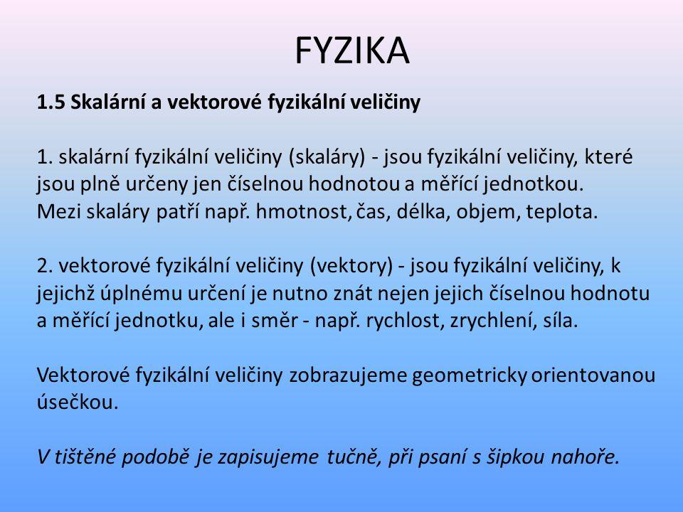 FYZIKA 1.5 Skalární a vektorové fyzikální veličiny