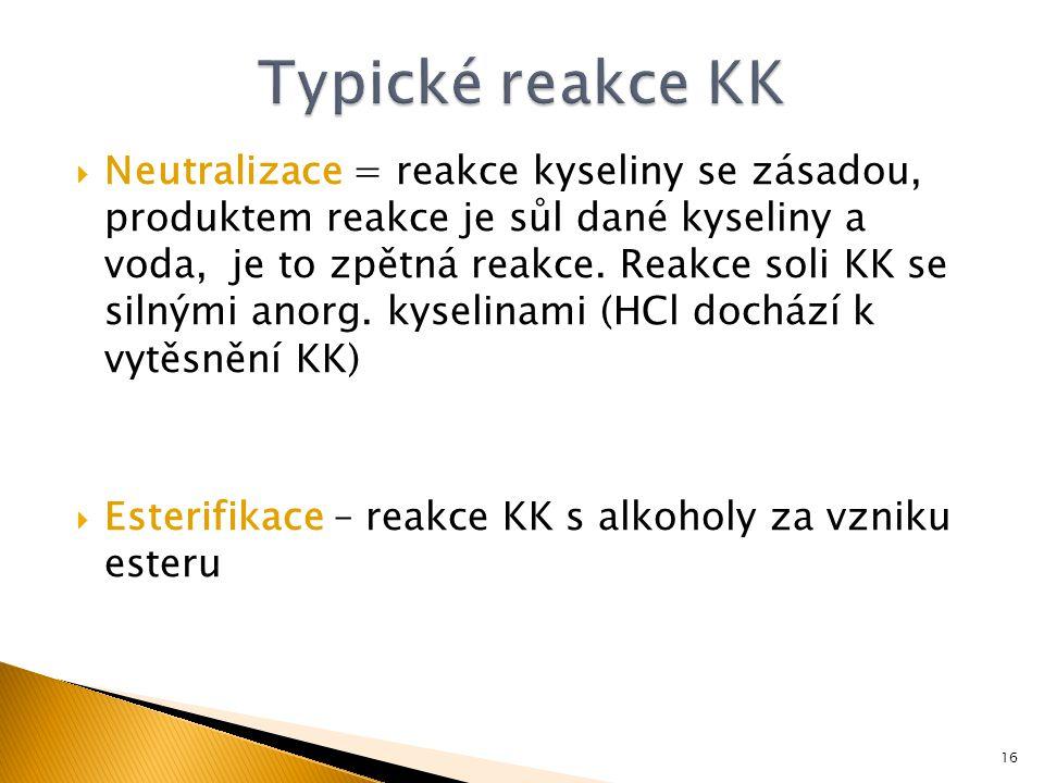 Typické reakce KK