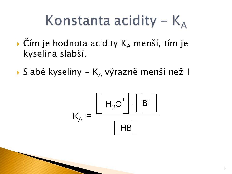 Konstanta acidity - KA Čím je hodnota acidity KA menší, tím je kyselina slabší.