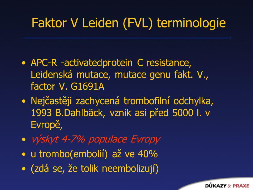 Faktor V Leiden (FVL) terminologie