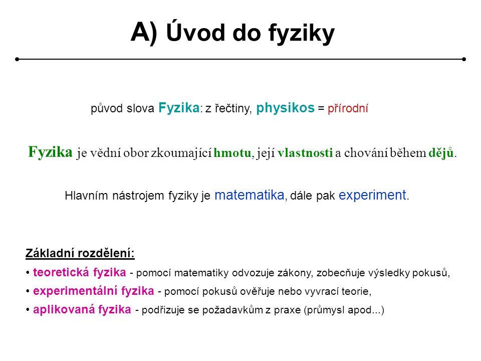 A) Úvod do fyziky původ slova Fyzika: z řečtiny, physikos = přírodní. Fyzika je vědní obor zkoumající hmotu, její vlastnosti a chování během dějů.