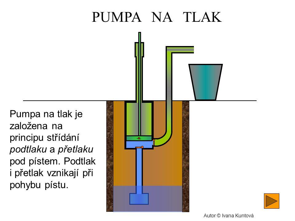 PUMPA NA TLAK Pumpa na tlak je založena na principu střídání podtlaku a přetlaku pod pístem. Podtlak i přetlak vznikají při pohybu pístu.