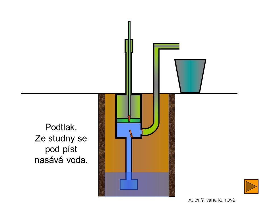 Ze studny se pod píst nasává voda.