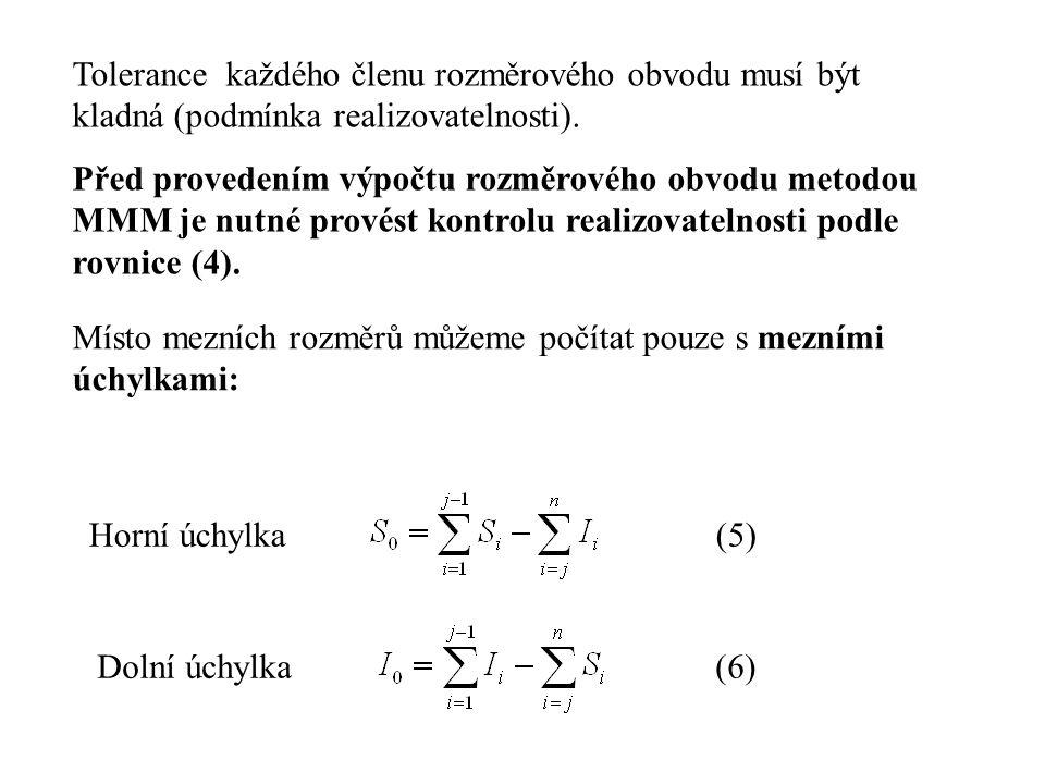 Tolerance každého členu rozměrového obvodu musí být kladná (podmínka realizovatelnosti).