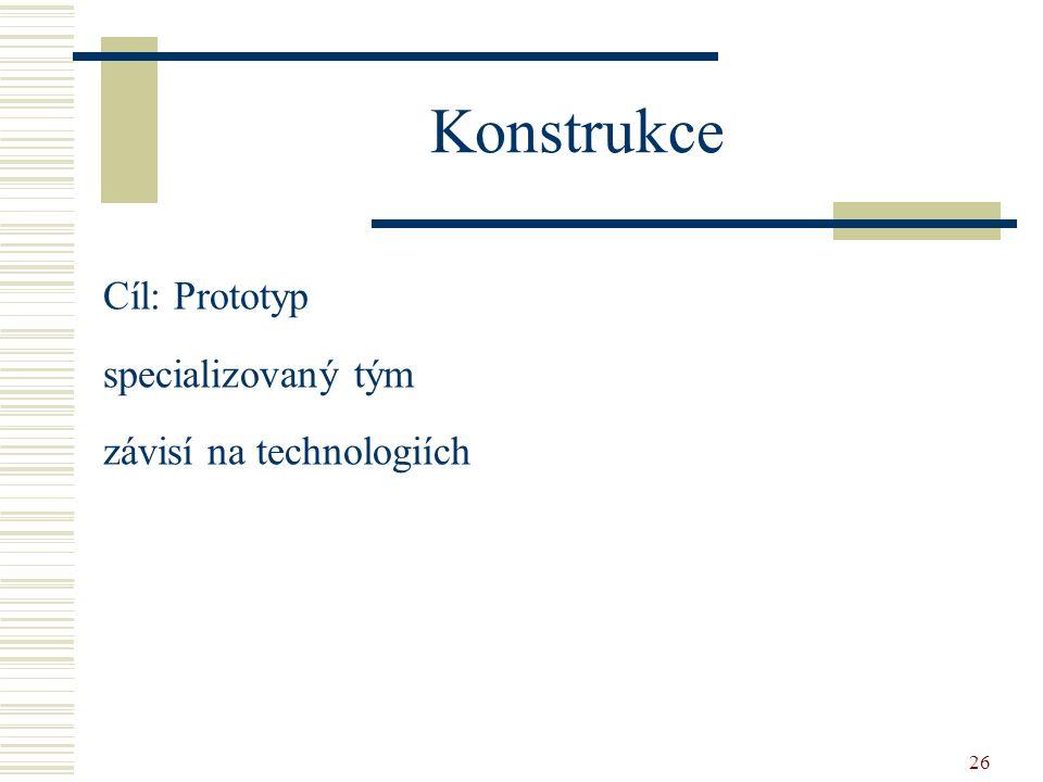 Konstrukce Cíl: Prototyp specializovaný tým závisí na technologiích