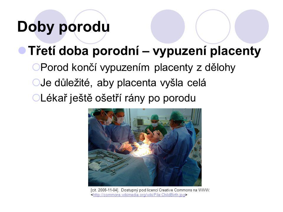 Doby porodu Třetí doba porodní – vypuzení placenty