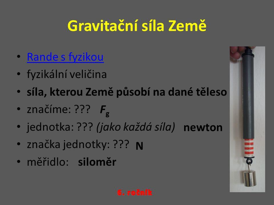 Gravitační síla Země Rande s fyzikou fyzikální veličina