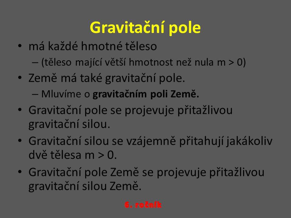 Gravitační pole má každé hmotné těleso Země má také gravitační pole.