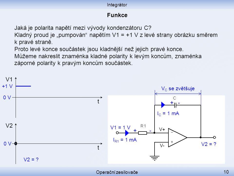 Jaká je polarita napětí mezi vývody kondenzátoru C